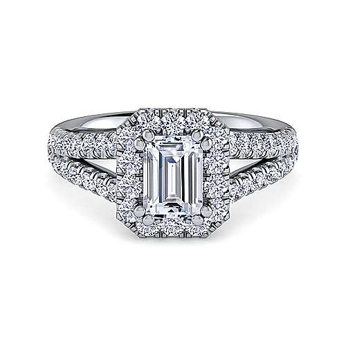 Gabriel - James Platinum Emerald Cut Halo Engagement Ring