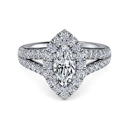 Gabriel - James Platinum Marquise  Halo Engagement Ring
