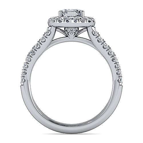 James Platinum Marquise  Halo Engagement Ring angle 2