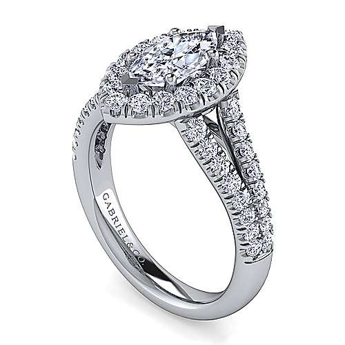 James Platinum Marquise  Halo Engagement Ring angle 3