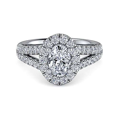 Gabriel - James Platinum Oval Halo Engagement Ring