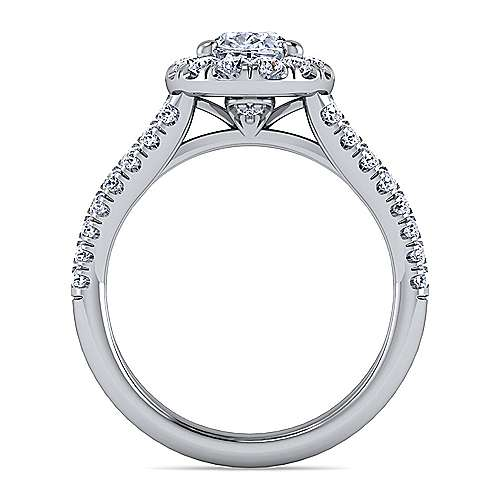 James Platinum Oval Halo Engagement Ring angle 2