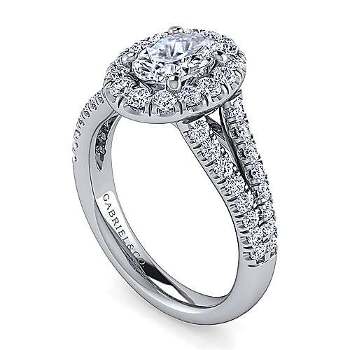 James Platinum Oval Halo Engagement Ring angle 3