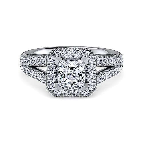 Gabriel - James Platinum Princess Cut Halo Engagement Ring