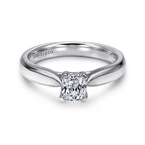 Gabriel - Jamie 14k White Gold Cushion Cut Solitaire Engagement Ring