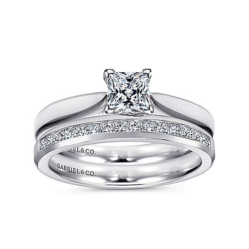 Jamie 14k White Gold Princess Cut Solitaire Engagement Ring angle 4