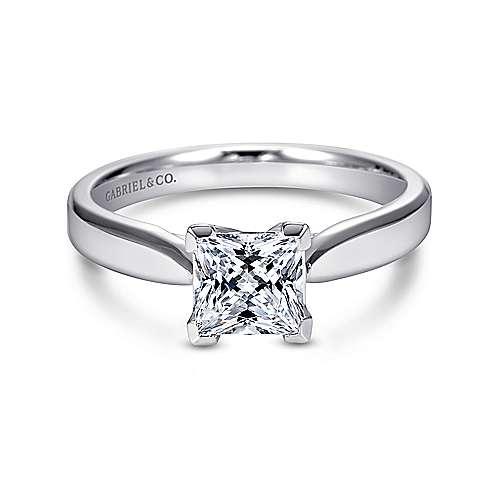 Gabriel - Jamie 14k White Gold Princess Cut Solitaire Engagement Ring