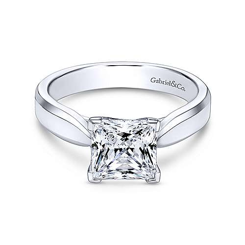 Gabriel - Jamie 14k White Gold Princess Cut Solitaire Engagement Ring