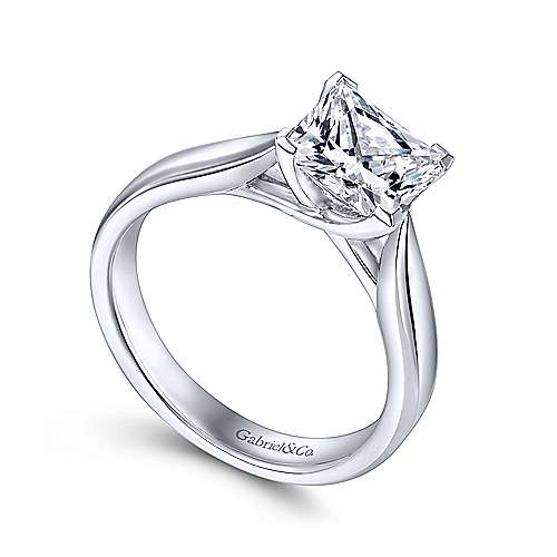 Jamie 14k White Gold Princess Cut Solitaire Engagement Ring angle 3