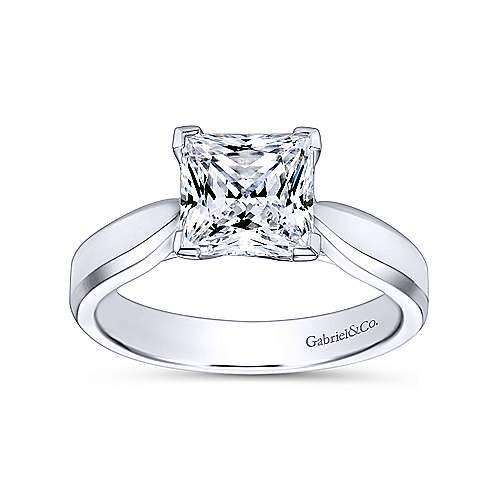 Jamie 14k White Gold Princess Cut Solitaire Engagement Ring angle 5