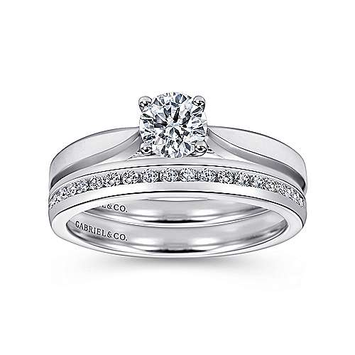 Jamie 14k White Gold Round Solitaire Engagement Ring angle 4