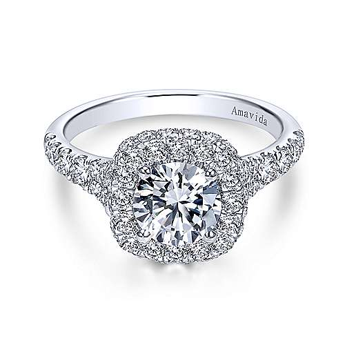 Gabriel - Janay 18k White Gold Round Double Halo Engagement Ring