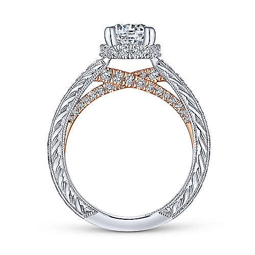 Jane 14k White And Rose Gold Round Straight Engagement Ring angle 2