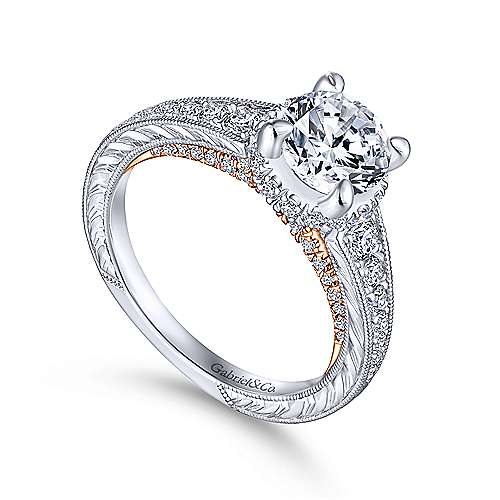 Jane 14k White And Rose Gold Round Straight Engagement Ring angle 3