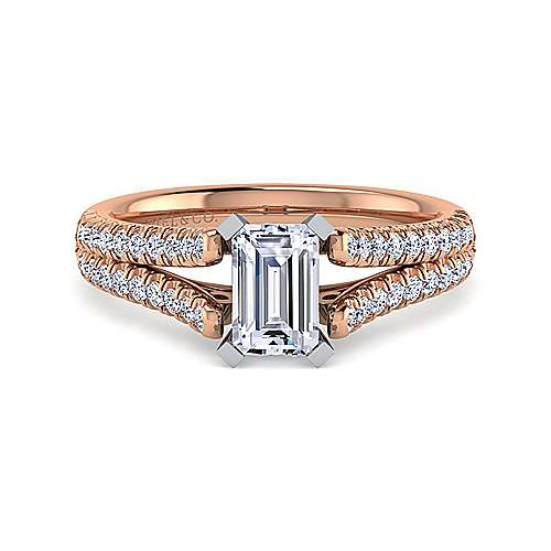 Janelle 14k White And Rose Gold Emerald Cut Split Shank Engagement