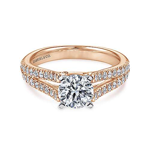 Gabriel - Janelle 14k White And Rose Gold Round Split Shank Engagement Ring