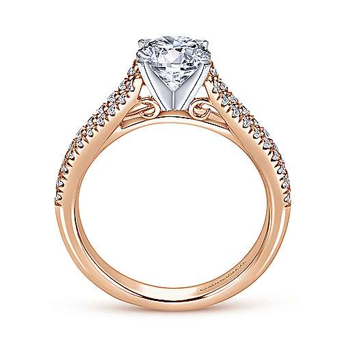 Janelle 14k White And Rose Gold Round Split Shank Engagement Ring angle 2