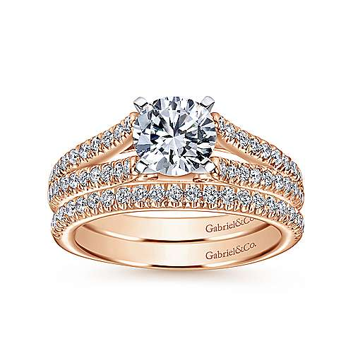 Janelle 14k White And Rose Gold Round Split Shank Engagement Ring