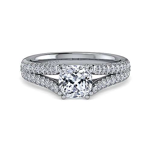 Gabriel - Janelle 14k White Gold Cushion Cut Split Shank Engagement Ring