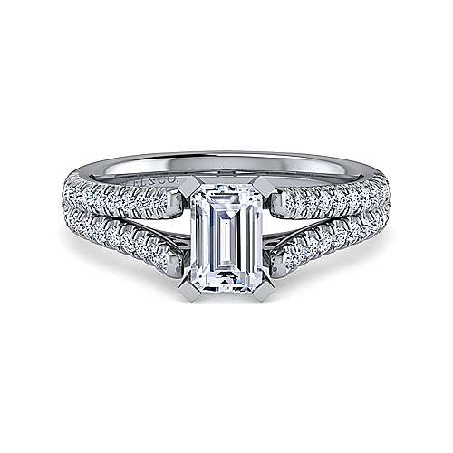 Gabriel - Janelle 14k White Gold Emerald Cut Split Shank Engagement Ring
