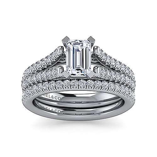 Janelle 14k White Gold Emerald Cut Split Shank Engagement Ring angle 4