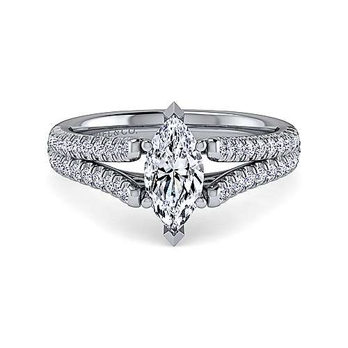 Janelle 14k White Gold Marquise  Split Shank Engagement Ring angle 1