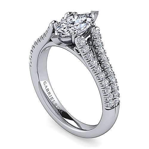 Janelle 14k White Gold Marquise  Split Shank Engagement Ring angle 3