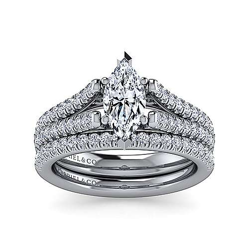 Janelle 14k White Gold Marquise  Split Shank Engagement Ring angle 4