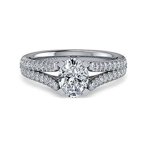 Gabriel - Janelle 14k White Gold Oval Split Shank Engagement Ring