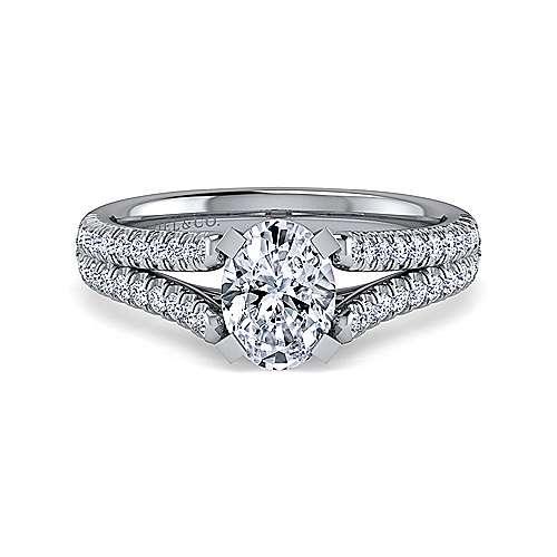 Janelle 14k White Gold Oval Split Shank Engagement Ring angle 1