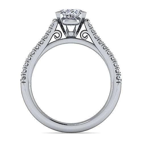 Janelle 14k White Gold Oval Split Shank Engagement Ring angle 2