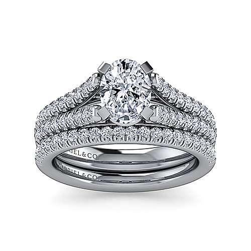 Janelle 14k White Gold Oval Split Shank Engagement Ring angle 4