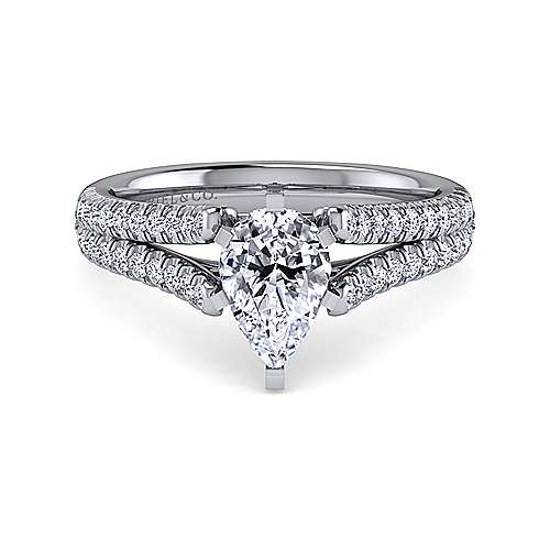 Gabriel - Janelle 14k White Gold Pear Shape Split Shank Engagement Ring