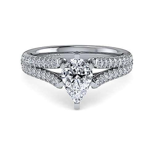 Gabriel - Janelle 14k White Gold Pear Shape Split Shank Engagement Ring