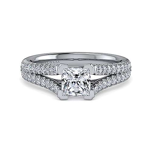 Gabriel - Janelle 14k White Gold Princess Cut Split Shank Engagement Ring