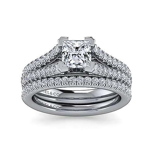Janelle 14k White Gold Princess Cut Split Shank Engagement Ring angle 4