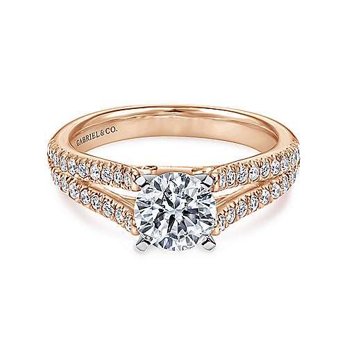 Gabriel - Janelle 14k White/pink Gold Round Split Shank Engagement Ring