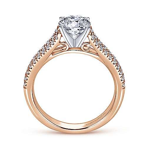 Janelle 14k White/rose Gold Round Split Shank Engagement Ring angle 2