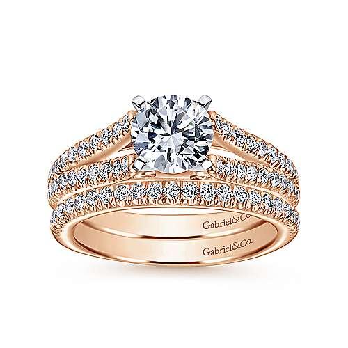 Janelle 14k White/rose Gold Round Split Shank Engagement Ring angle 4