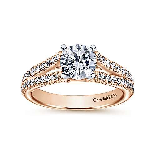 Janelle 14k White/rose Gold Round Split Shank Engagement Ring angle 5