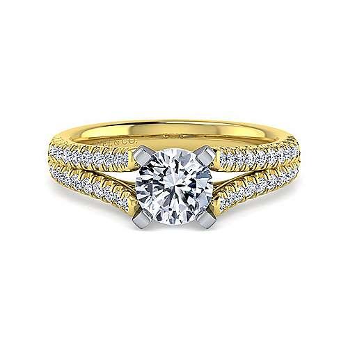 Gabriel - Janelle 14k Yellow/white Gold Round Split Shank Engagement Ring