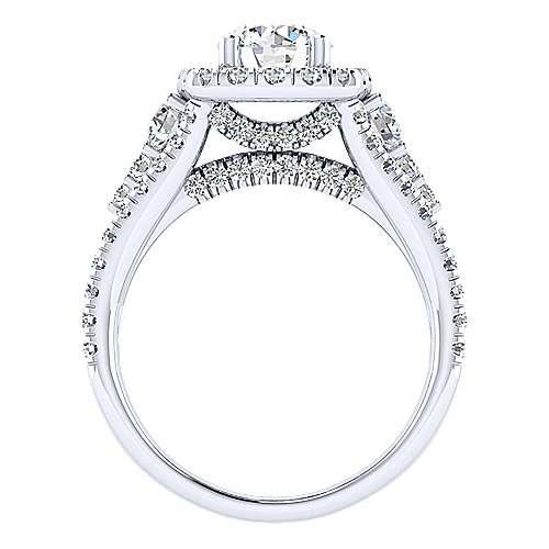 Janet 18k White Gold Round Halo Engagement Ring angle 2