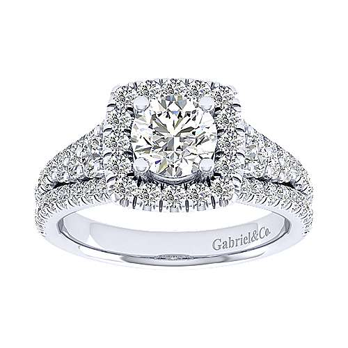 Janet 18k White Gold Round Halo Engagement Ring angle 5