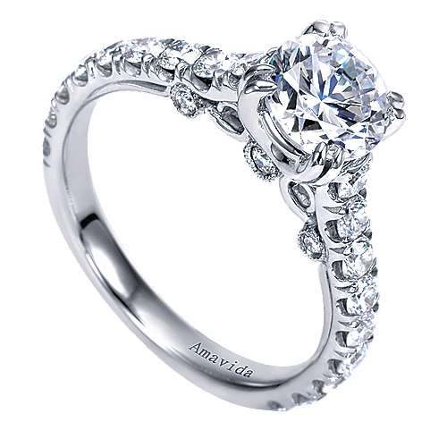 Janine 18k White Gold Round Straight Engagement Ring angle 3