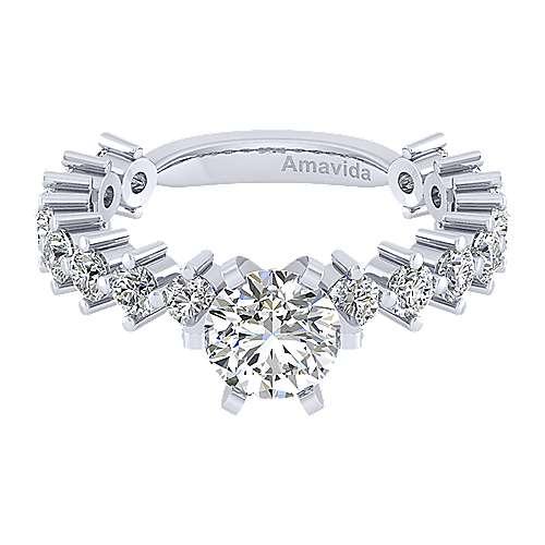 Gabriel - Janis 18k White Gold Round Straight Engagement Ring