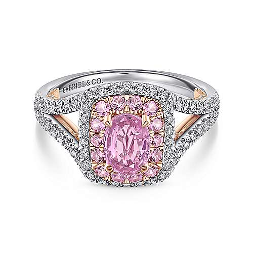 Jarita 14k White And Rose Gold Oval Double Halo Engagement Ring