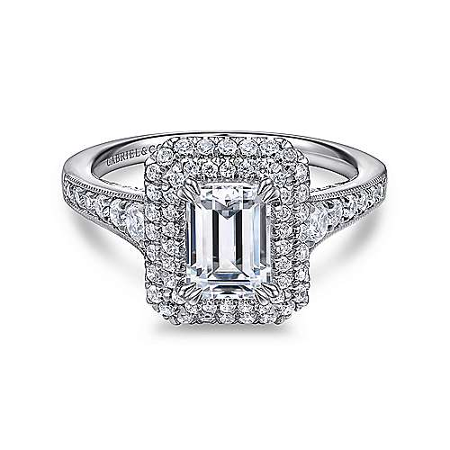 Gabriel - Jasmine 14k White Gold Emerald Cut Double Halo Engagement Ring