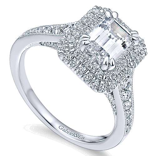 Jasmine 14k White Gold Emerald Cut Double Halo Engagement Ring angle 3
