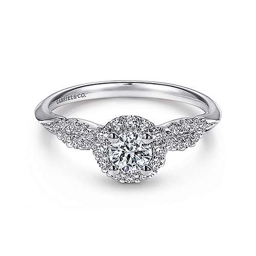 Gabriel - Java 14k White Gold Round Halo Engagement Ring