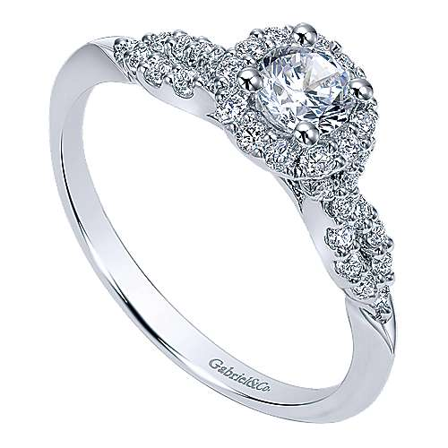 Java 14k White Gold Round Halo Engagement Ring